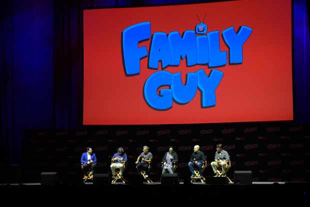 Andy Swift, Alec Sulkin, John Viener, Kara Vallow, Richard Appel, Mike Henry and John Viener speak onstage at the Family Guy panel during 2018 New York Comic Con