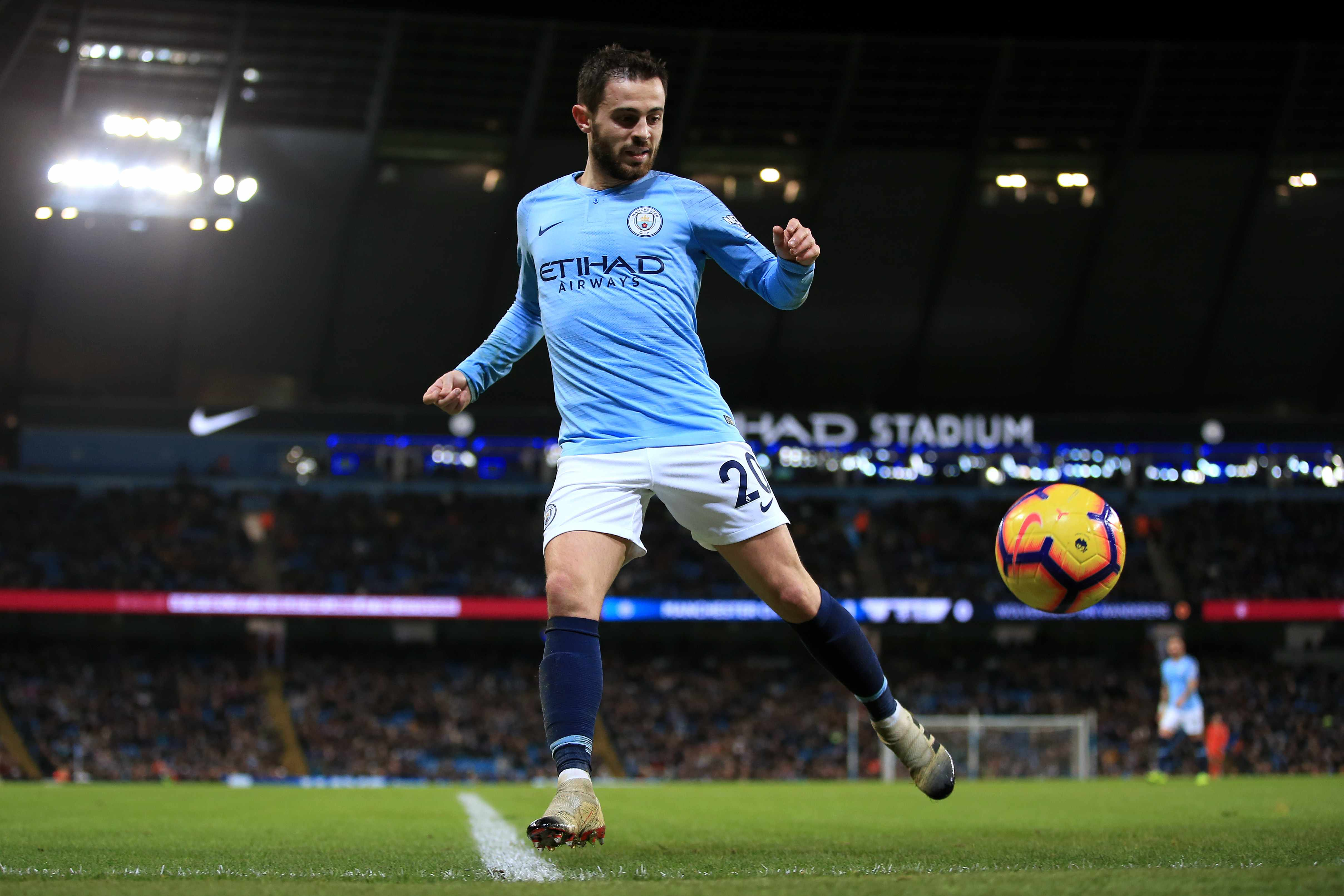 MANCHESTER, ENGLAND - JANUARY 14: Bernardo Silva of Man City in action during the Premier League match between Manchester City and Wolverhampton Wanderers at the Etihad Stadium on January 14, 2019 in Manchester, United Kingdom. (Photo by Simon Stacpoole/Offside/Getty Images)