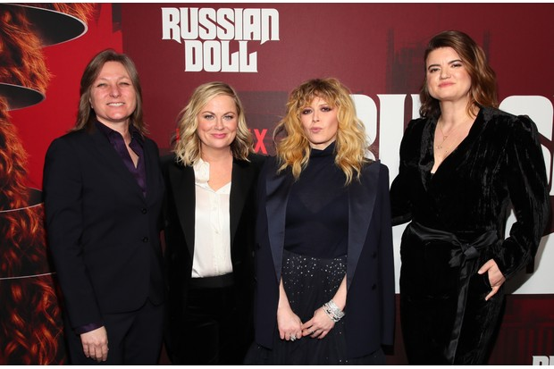 "NEW YORK, NY - JANUARY 23: (L-R) VP Original Series, Netflix Cindy Holland, Amy Poehler, Natasha Lyonne and Leslye Headland attend the ""Russian Doll"" Premiere at The Metrograph on January 23, 2019 in New York City. (Photo by Astrid Stawiarz/Getty Images for Netflix)"