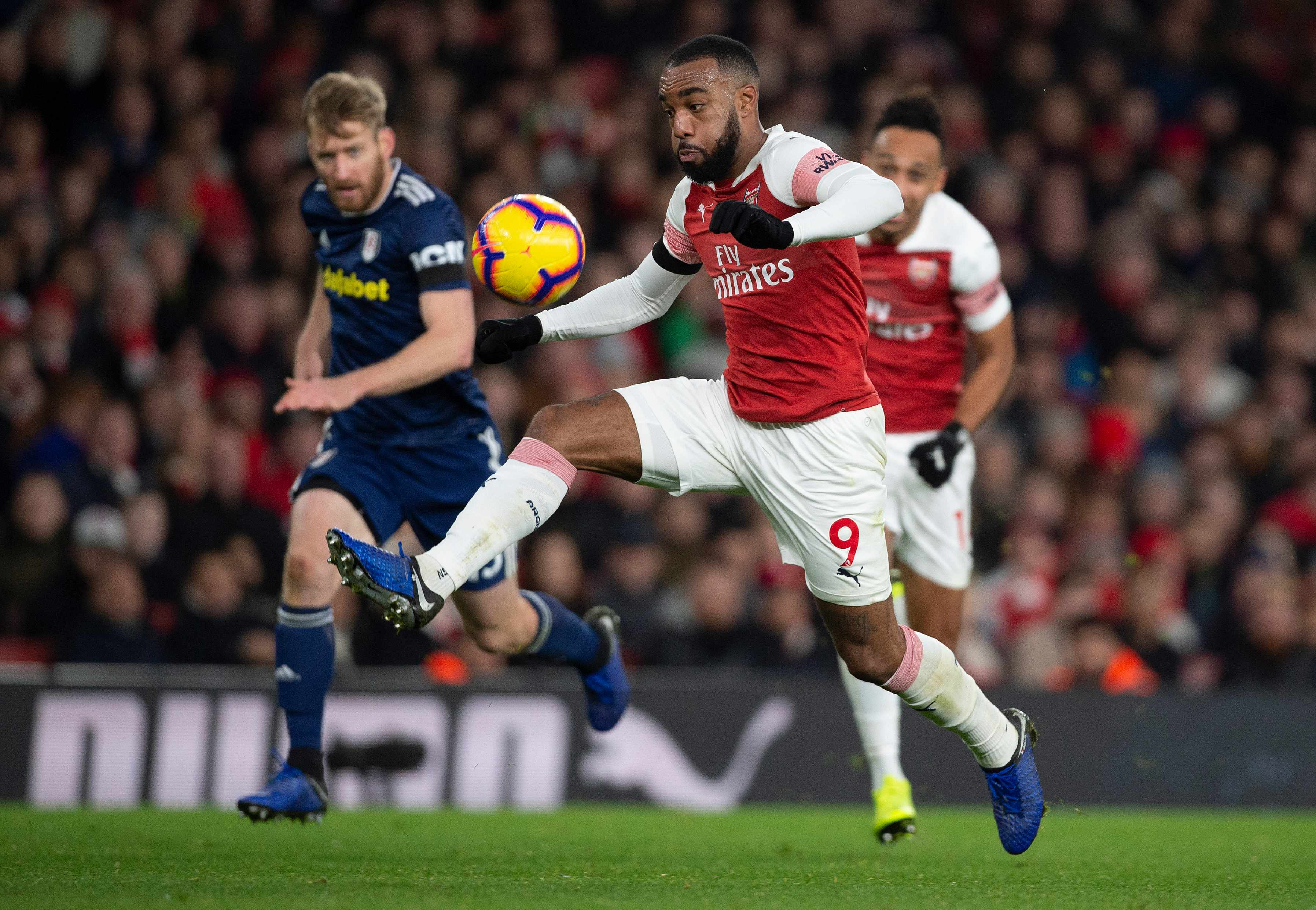 LONDON, ENGLAND - JANUARY 01: Alexandre Lacazette of Arsenal during the Premier League match between Arsenal FC and Fulham FC at Emirates Stadium on January 1, 2019 in London, United Kingdom. (Photo by Visionhaus/Getty Images)