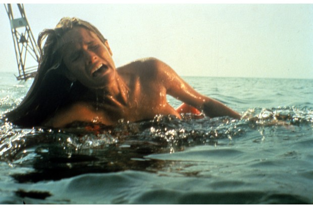 A woman screams in a scene from the film 'Jaws', 1975. (Photo by Universal/Getty Images)