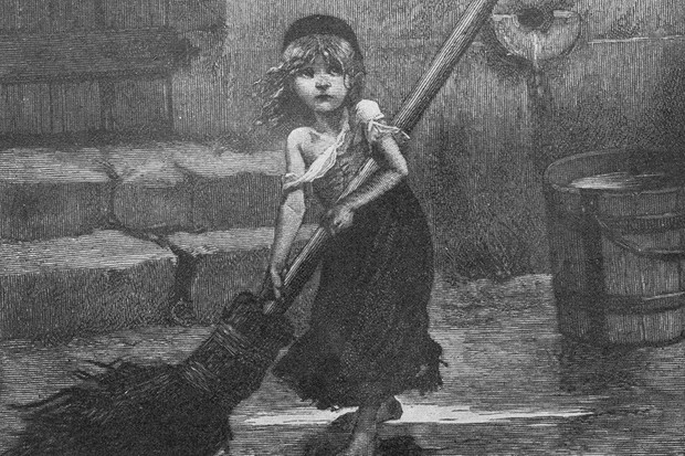 1862: A scene from 'Les Miserables' by Victor Hugo; a ragged and barefoot Cosette sweeps a flooded yard (Getty)