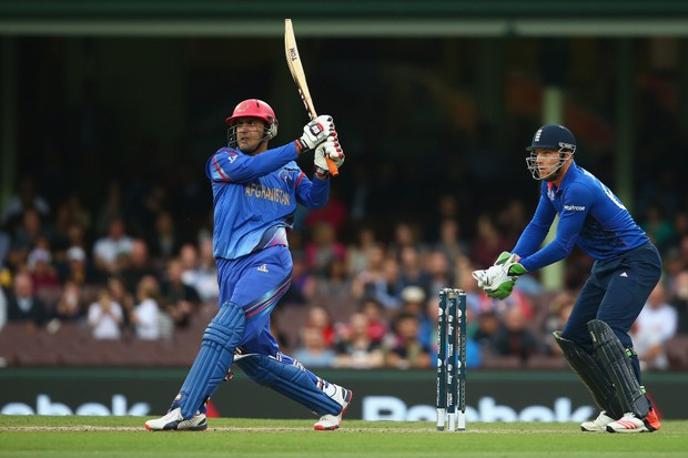 SYDNEY, AUSTRALIA - MARCH 13: Shafiqullah Shafiq bats of Afghanistan during the 2015 Cricket World Cup match between England and Afghanistan at Sydney Cricket Ground on March 13, 2015 in Sydney, Australia. (Photo by Mark Kolbe/Getty Images)