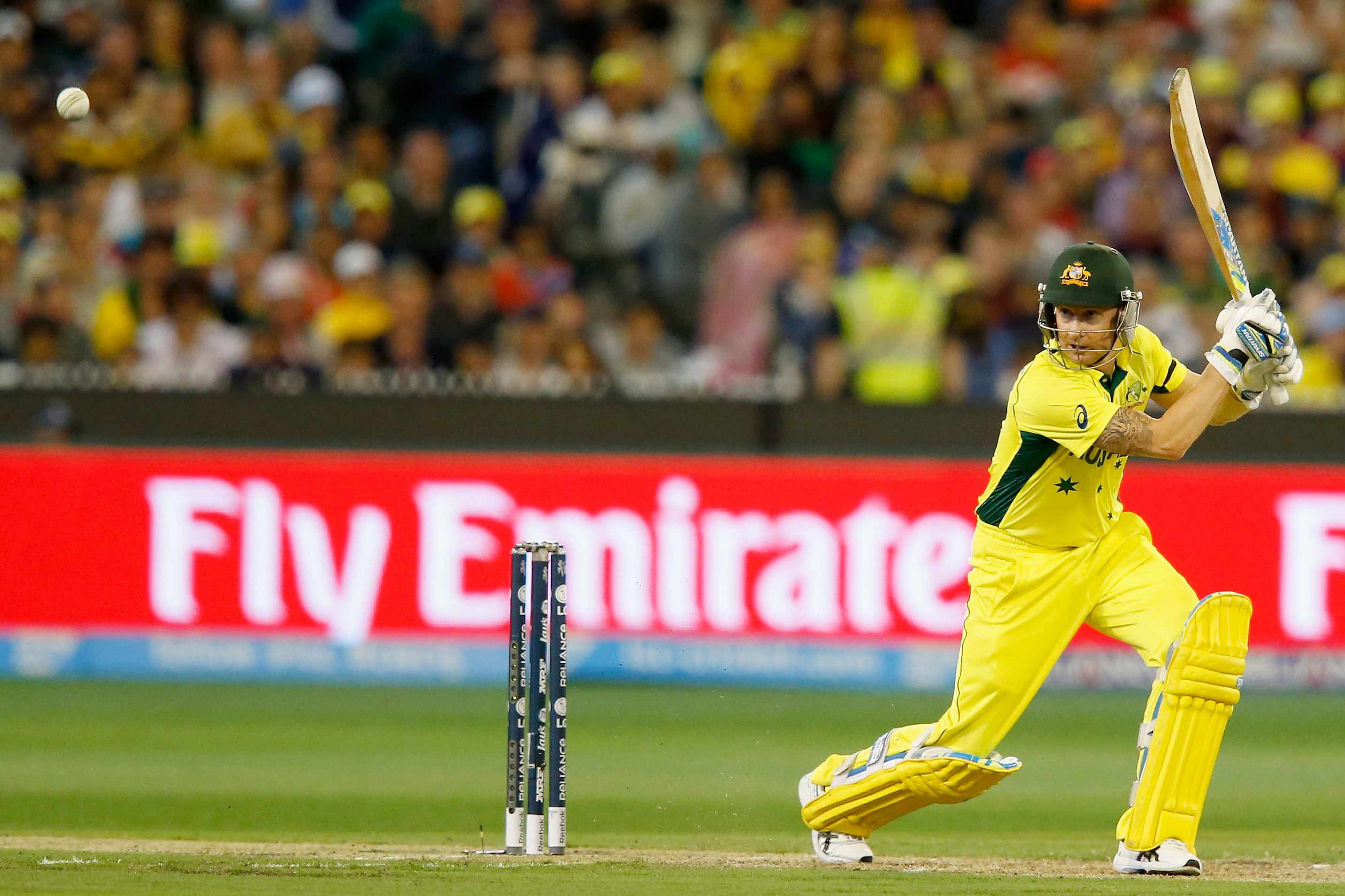 MELBOURNE, AUSTRALIA - MARCH 29:  Michael Clarke of Australia bats during the 2015 ICC Cricket World Cup final match between Australia and New Zealand at Melbourne Cricket Ground on March 29, 2015 in Melbourne, Australia.  (Photo by Darrian Traynor/Getty Images)