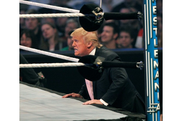 DETROIT - APRIL 1: Donald Trump cheers on his fighter during the Battle of the Billionaires at the 2007 World Wrestling Entertainment's Wrestlemania April 1, 2007 at Ford Field in Detroit, Michigan. The event drew more than 80,000 wrestling fans. (Photo by Bill Pugliano/Getty Images)