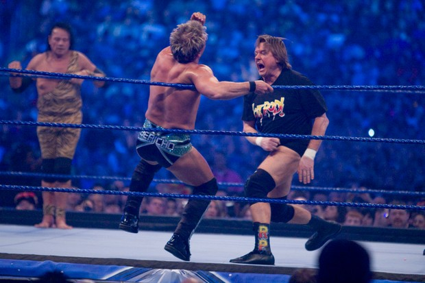 """HOUSTON, TX - APRIL 5: (L-R) Jimmy """"Superfly"""" Snuka looks on as WWE Superstar Chris Jericho battles """"Rowdy"""" Roddy Piper during WrestleMania 25 at Reliant Stadium on April 5, 2009 in Houston, Texas. (Photo by Bill Olive/Getty Images)"""
