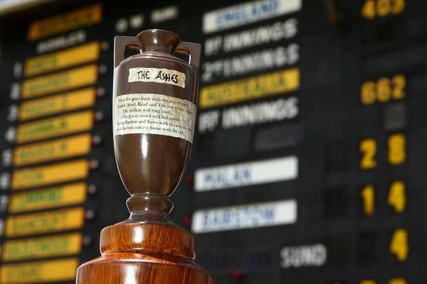 PERTH, AUSTRALIA - DECEMBER 18:  A replica Ashes urn is pictured in front of the scoreboard during day five of the Third Test match during the 2017/18 Ashes Series between Australia and England at WACA on December 18, 2017 in Perth, Australia.  (Photo by Paul Kane/Getty Images)
