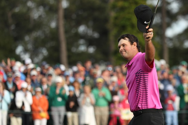 AUGUSTA, GA - APRIL 08: Patrick Reed of the United States acknowledges the crowd after making par 18th green during the final round to win the 2018 Masters Tournament at Augusta National Golf Club on April 8, 2018 in Augusta, Georgia. (Photo by Patrick Smith/Getty Images)
