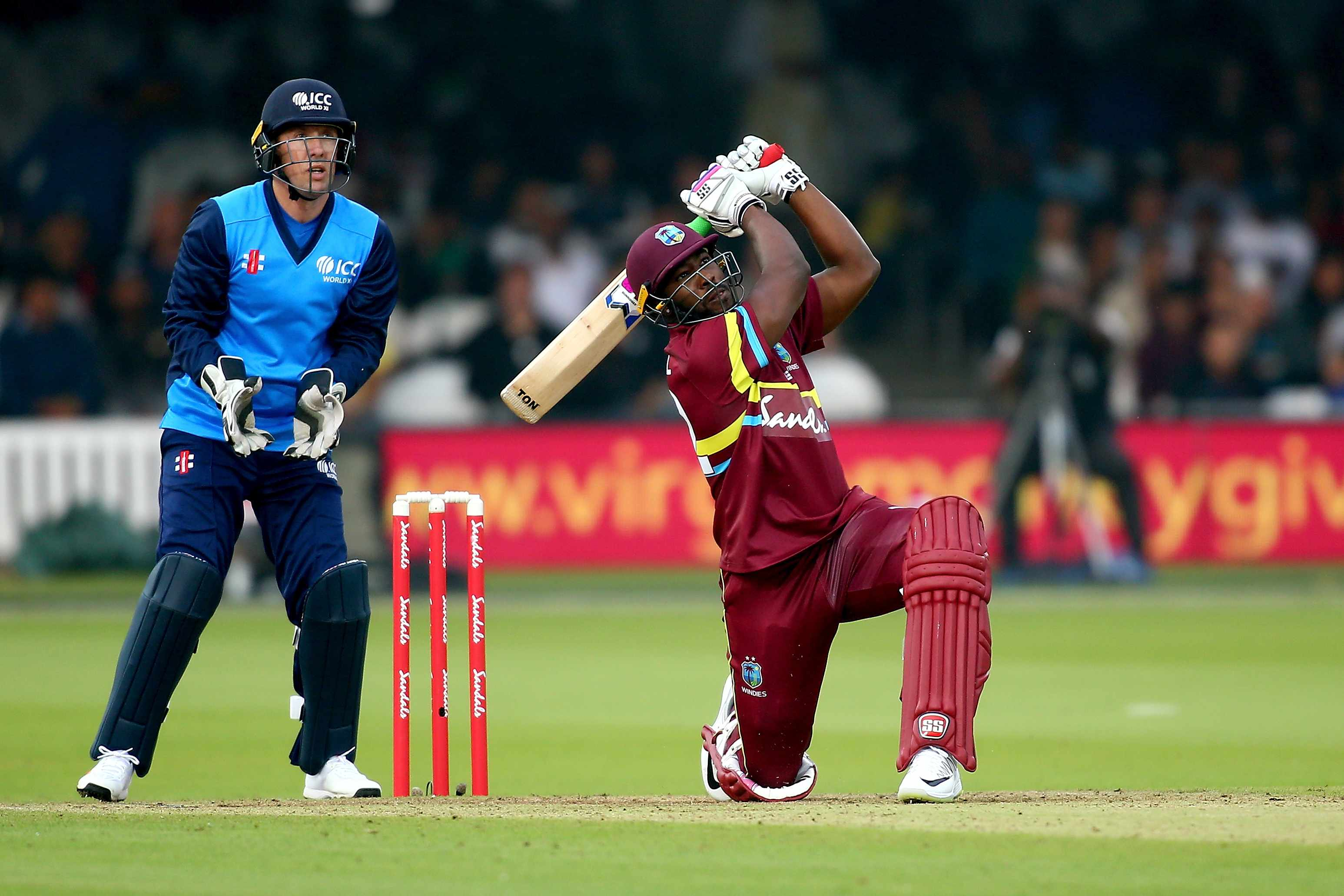 LONDON, ENGLAND - MAY 31:  Andre Russell of West Indies bats during the T20 match between ICC World XI and West Indies at Lord's Cricket Ground on May 31, 2018 in London, England.  (Photo by Jordan Mansfield/Getty Images)