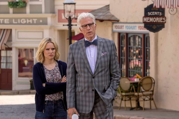 "THE GOOD PLACE -- ""Most Improved Player"" Episode 107 -- Pictured: (l-r) Kristen Bell as Eleanor, Ted Danson as Michael -- (Photo by: Ron Batzdorff/NBC)"