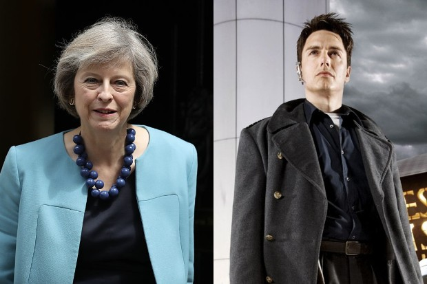 Theresa May and John Barrowman (Getty, BBC)