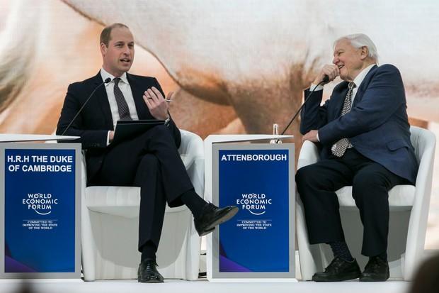 The Duke of Cambridge in conversation with Sir David Attenborough during WEF 2019 in Davos (World Economic Forum / Benedikt von Loebell)