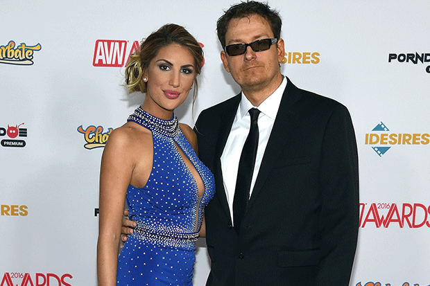August Ames and Kevin Moore at the AVN Awards in 2016, Getty