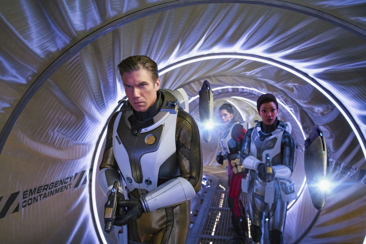 Anson Mount as Captain Pike; Rachael Ancheril as Lt. Nhan; Sonequa Martin-Green as Michael Burnham; of the CBS All Access series STAR TREK: DISCOVERY