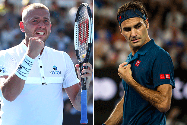 Dan Evans and Roger Federer, Australian Open, Getty