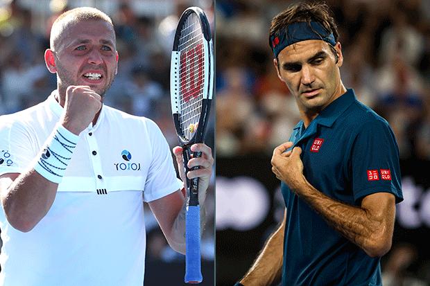 Dan Evans and Roger Federer, Australian Open, Getty