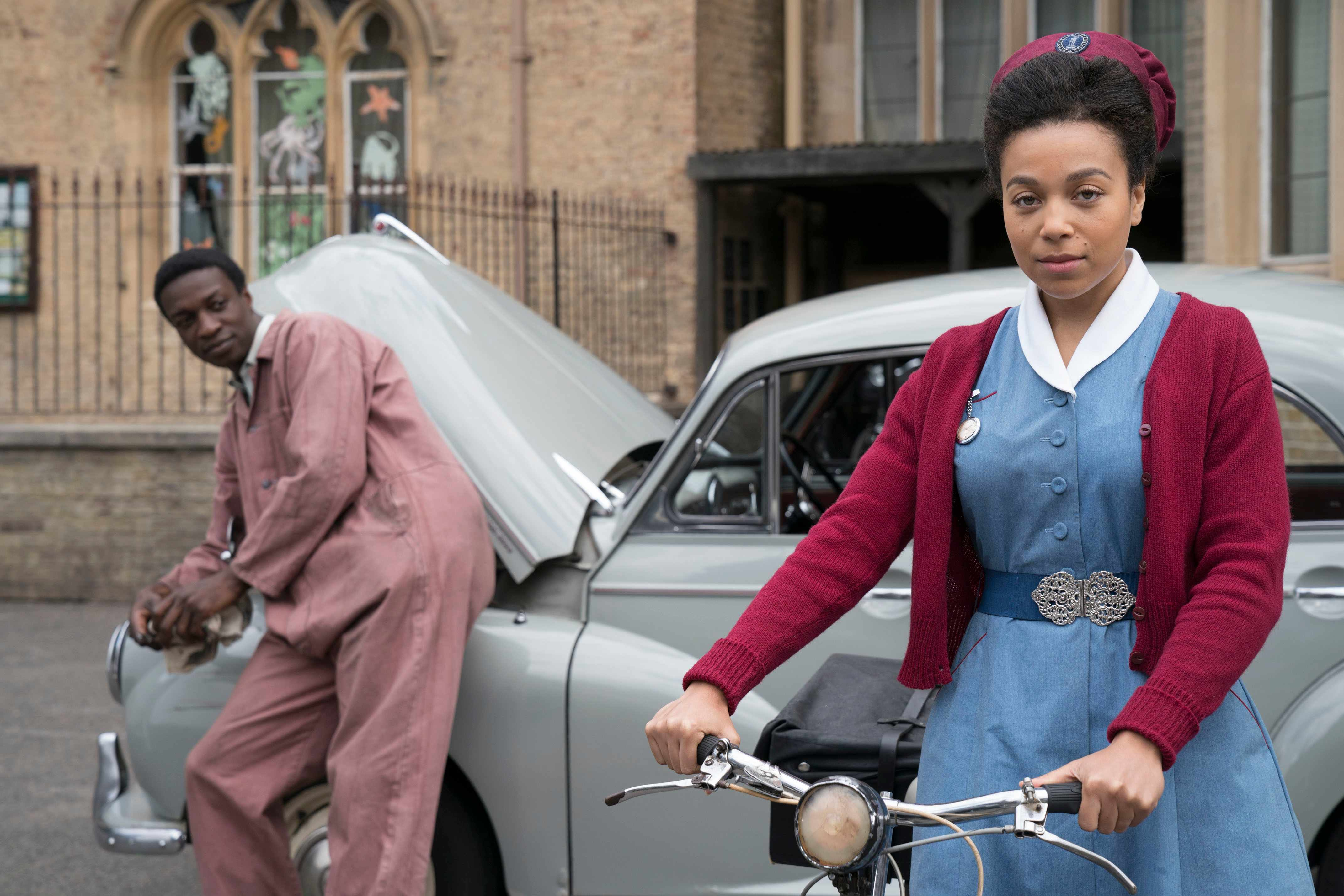 WARNING: Embargoed for publication until 00:00:01 on 05/02/2019 - Programme Name: Call the Midwife S8 - TX: 10/02/2019 - Episode: Call The Midwife S8 - EP5 (No. 5) - Picture Shows: ***EMBARGOED TILL TUES 5TH FEB 2019*** Cyril Robinson (ZEPHRYN TAITTE), Nurse Lucille Anderson  (LEONIE ELLIOTT) - (C) Neal Street Productions - Photographer: Aimee Spinks