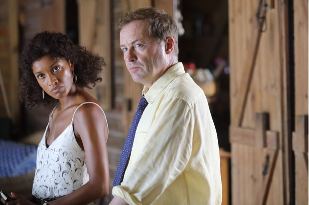 Aude Legastelois and Ardal O'Hanlon in Death in Paradise