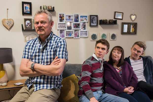 Programme Name: Warren - TX: n/a - Episode: Warren (No. Generic) - Picture Shows:  Warren Thompson (MARTIN CLUNES), Danny (OSCAR MORGAN), Anne (LISA MILLETT), Charlie (TIM PRESTON) - (C) Hat Trick Productions - Photographer: Warren Orchard