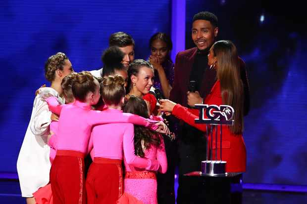 Greatest Dancer winner Ellie, Harry and Eleiyah, KLA, Oti Mabuse, Jordan Banjo, Alesha Dixon (Syco/Thames)