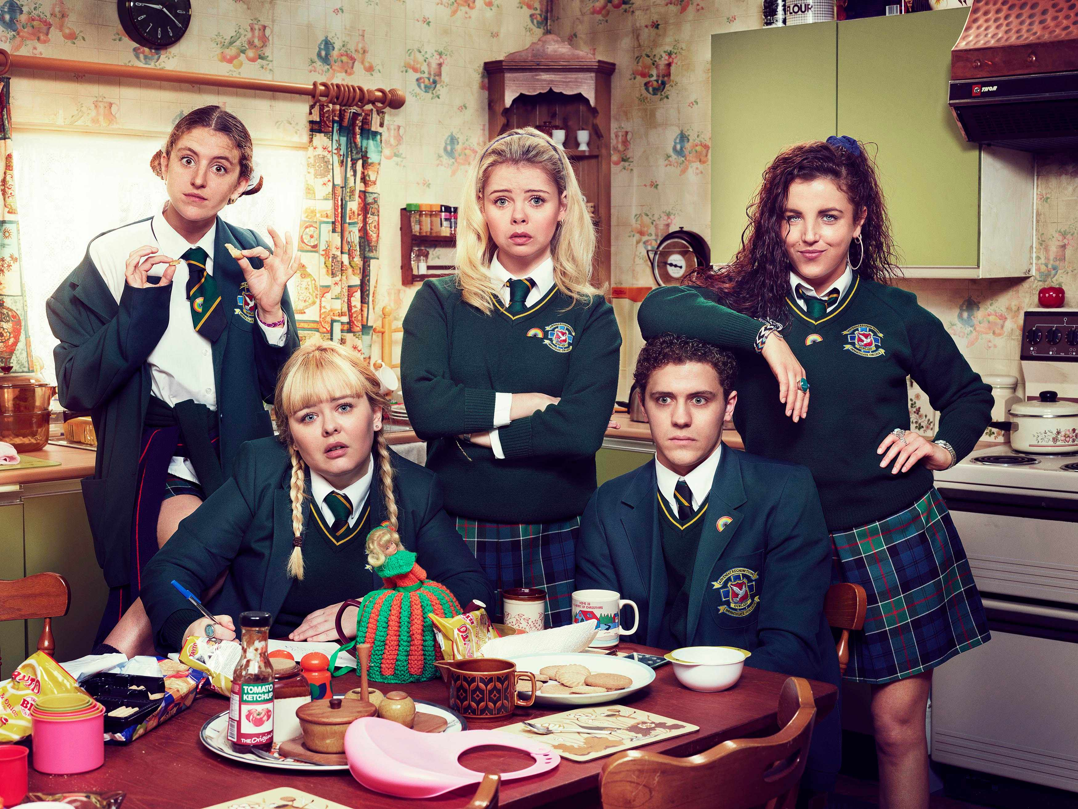 l-r:- Orla (Louise Harland), Clare (Nicola Coughlan), Erin (Saoirse-Monica Jackson),  James (Dylan Llewellyn) and Michelle (Jamie-Lee ODonnell)