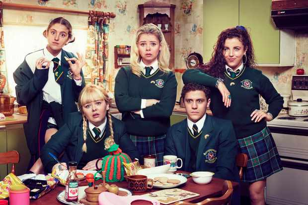 l-r:- Orla (Louise Harland), Clare (Nicola Coughlan), Erin (Saoirse-Monica Jackson),  James (Dylan Llewellyn) and Michelle (Jamie-Lee O⿿Donnell)