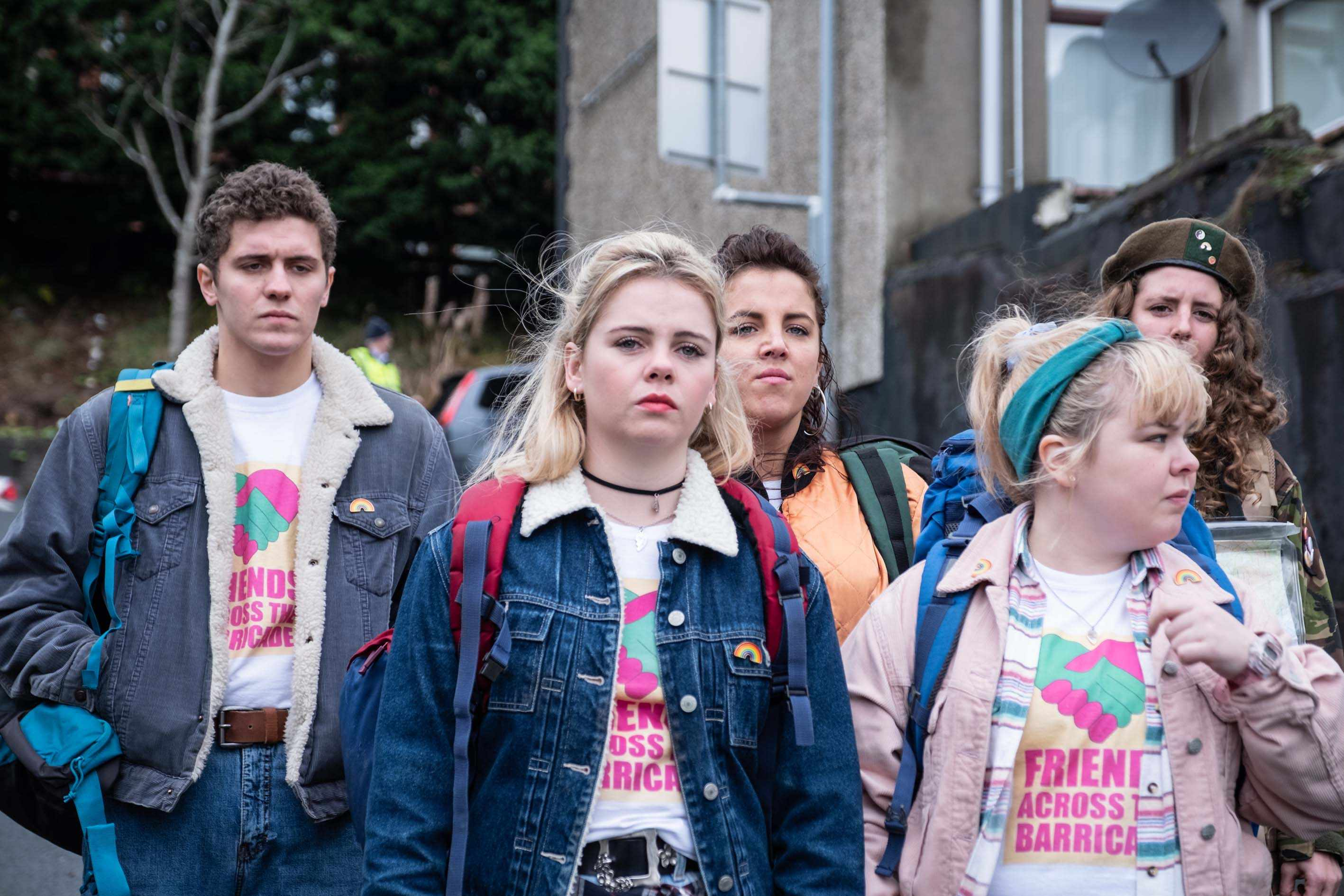 l-r:  Dylan (James Maguire), Erin (Saoirse Monica-Jackson), Michelle (Jamie-Lee O'Donnell), Clare (Nicola Coughlan) and Orla (Louisa Clare Harland)