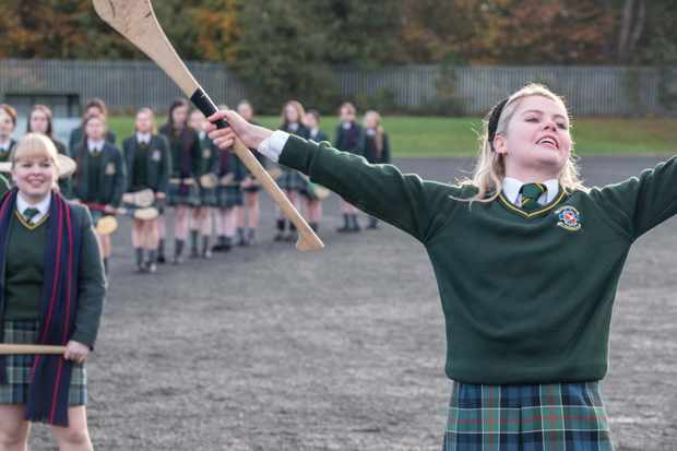 Front to back:-Erin Quinn (Saoirse Monica Jackson), Clare Devlin (Nicola Coughlan), Michelle Mallon (Jamie-Lee O'Donnell), Orla McCool (Louisa Clare Harland), James Maguire (Dylan Llewellyn)