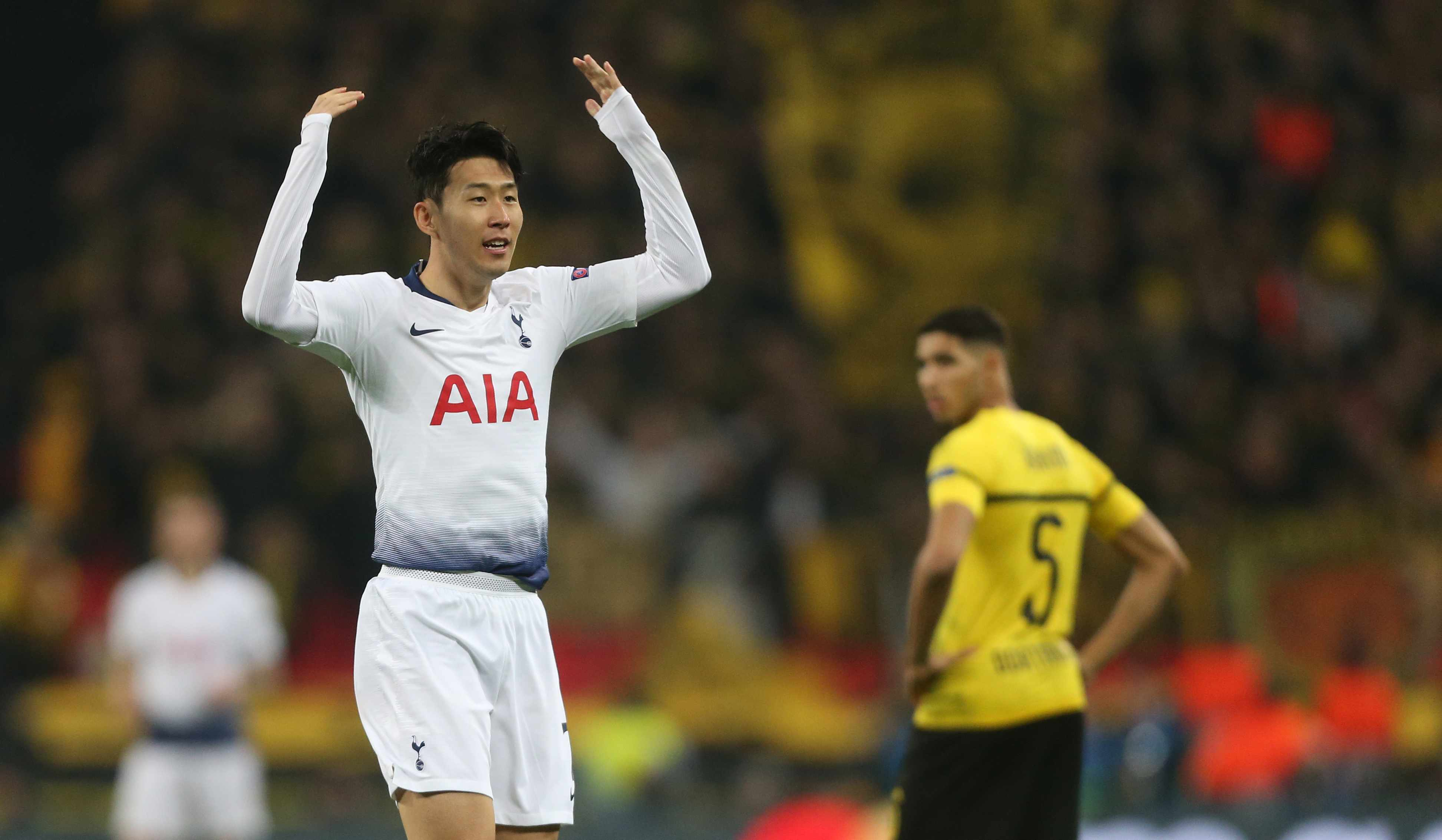 LONDON, ENGLAND - FEBRUARY 13: Tottenham Hotspur's Son Heung-Min celebrates scoring his side's first goal during the UEFA Champions League Round of 16 First Leg match between Tottenham Hotspur and Borussia Dortmund at Wembley Stadium on February 13, 2019 in London, England. (Photo by Rob Newell - CameraSport via Getty Images)