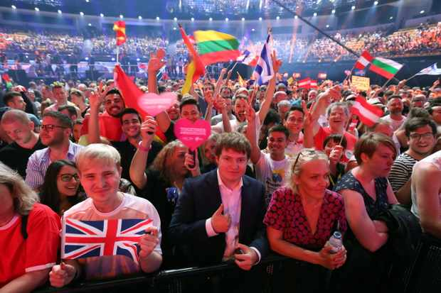 LISBON, PORTUGAL - MAY 8, 2018: Spectators at the first semifinal of the 63rd edition of the 2018 Eurovision Song Contest at Lisbon Arena. Vyacheslav Prokofyev/TASS (Photo by Vyacheslav ProkofyevTASS via Getty Images)