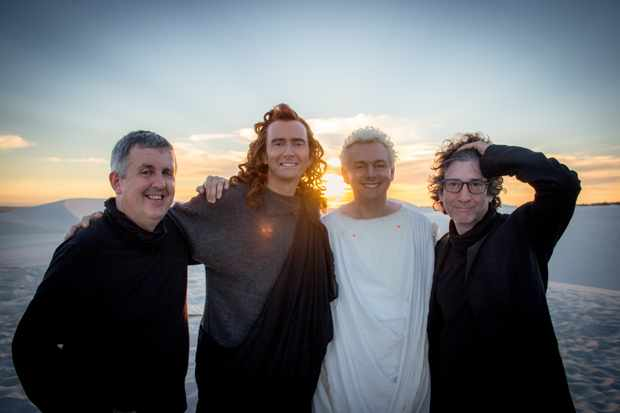 Good Omens director Douglas Mackinnon, stars David Tennant and Michael Sheen, and author Neil Gaiman (Amazon Prime Video)