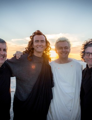 Good Omens director Douglas Mackinnon, stars David Tennant and Michael Sheen, and author Neil Gaiman (Amazon Prime Video)