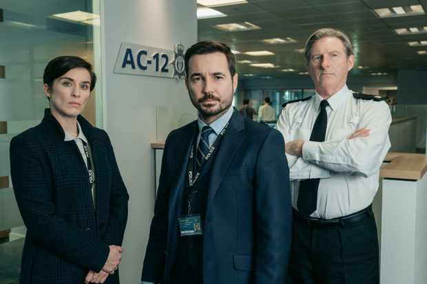 Vicky McClure, Martin Compston and Adrian Dunbar in Line of Duty (BBC)