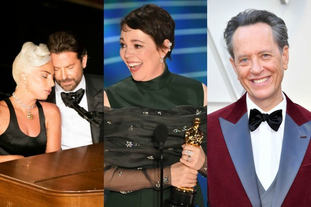 Bradley Cooper and Lady Gaga; Olivia Colman; Richard E Grant; pictures from the 2019 Oscars (Getty)