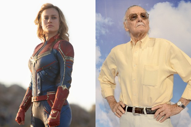 Brie Larson as Captain Marvel and Stan Lee (Disney, Getty)