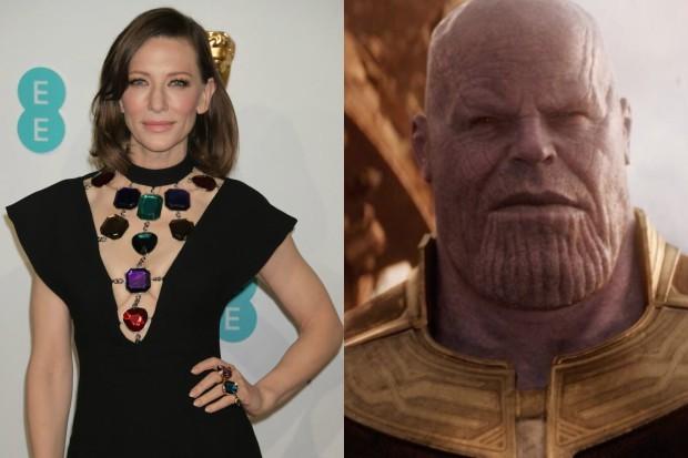 Cate Blanchett at the 2019 Film Baftas with Josh Brolin's Thanos (Getty, Marvel)