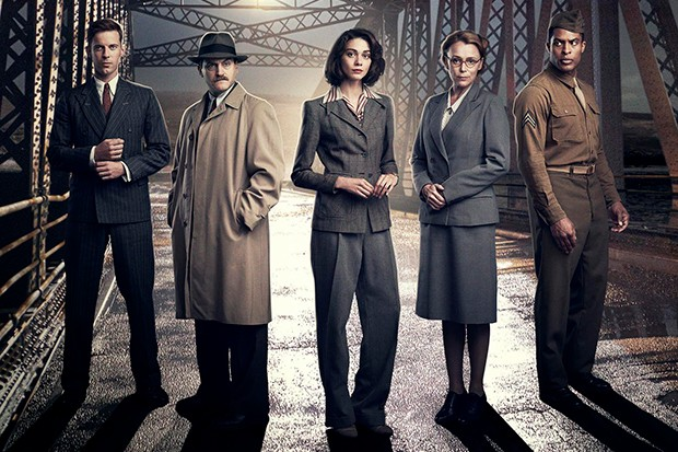 L-R: LUKE TREADAWAY as HUGH FENTON MICHAEL STUHLBARG as ROWE EMMA APPLETON as FEEF SYMONDS KEELEY HAWES as PRISCILLA GARRICK BRANDON P BELL as JACKSON COLE