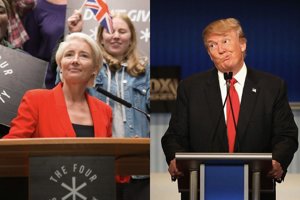 Emma Thompson in years and Years and Donald Trump (BBC, Getty)