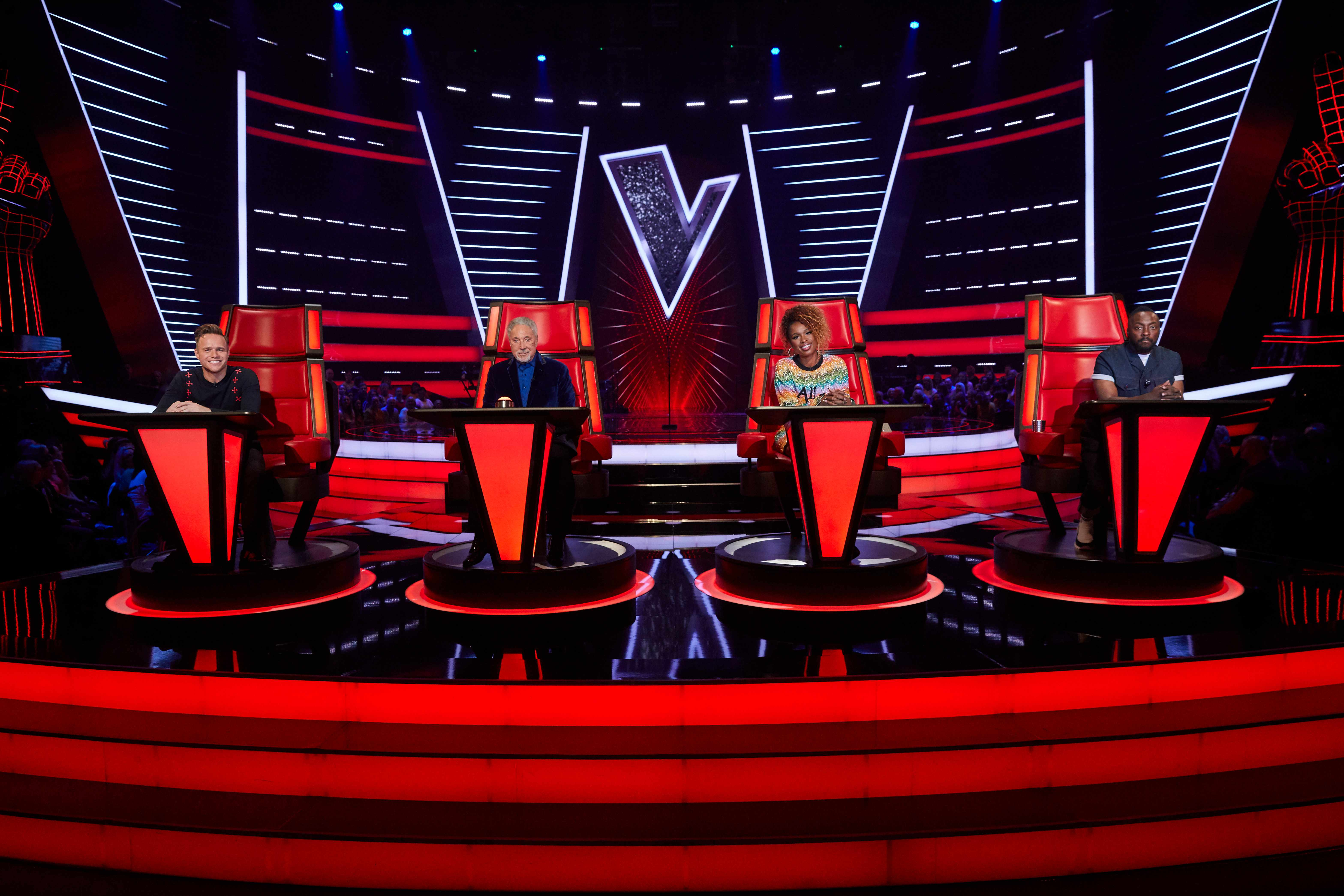From ITV Studios  The Voice UK: SR3 on ITV  Pictured: Olly Murs, Sir Tom Jones, Jennifer Hudson and will.i.am.  This photograph is (C) ITV Plc and can only be reproduced for editorial purposes directly in connection with the programme or event mentioned above, or ITV plc. Once made available by ITV plc Picture Desk, this photograph can be reproduced once only up until the transmission [TX] date and no reproduction fee will be charged. Any subsequent usage may incur a fee. This photograph must not be manipulated [excluding basic cropping] in a manner which alters the visual appearance of the person photographed deemed detrimental or inappropriate by ITV plc Picture Desk.  This photograph must not be syndicated to any other company, publication or website, or permanently archived, without the express written permission of ITV Picture Desk. Full Terms and conditions are available on the website www.itv.com/presscentre/itvpictures/terms  For further information please contact: james.hilder@itv.com / 0207 157 3052