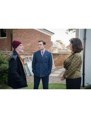 Steve Evets is Barry/Derek, Ed Westwick is Vincent Stirling Gallacher is Patricia Brown (C) ©Fudge Park - Photographer: Nicola Dove