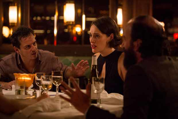 WARNING: Embargoed for publication until 00:00:01 on 26/02/2019 - Programme Name: Fleabag - TX: n/a - Episode: n/a (No. 1) - Picture Shows:  The Priest (ANDREW SCOTT), Fleabag (PHOEBE WALLER-BRIDGE), Martin (BRETT GELMAN) - (C) Two Brothers - Photographer: Luke Varley