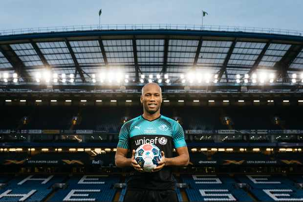 Didier Drogba at Stamford Bridge, Soccer Aid (ITV email)