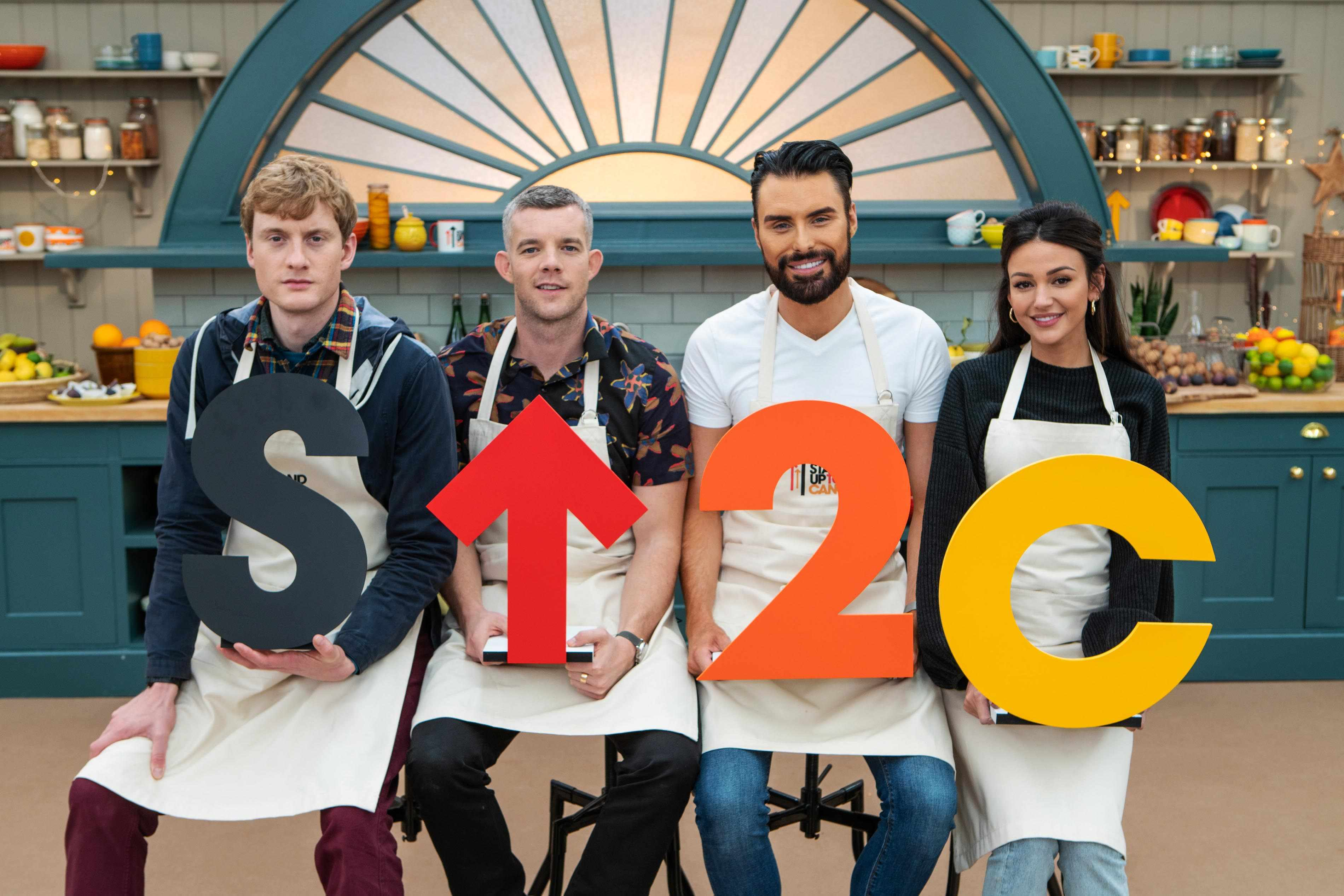 Bakers James Acaster, Russell Tovey, Rylan Clark-Neal and Michelle Keegan (channel 4)