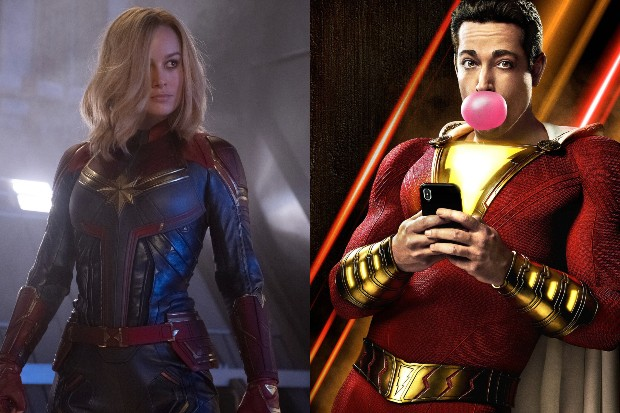 Brie Larson as Captain Marvel and Zachary Levi as Shazam! (Marvel, Warner Bros)