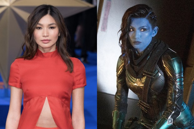 Gemma Chan at the Captain Marvel premiere and in Captain Marvel (Getty, Disney)
