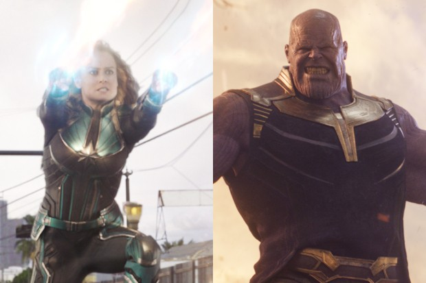Brie Larson as Captain Marvel and Josh Brolin as Thanos (Marvel)