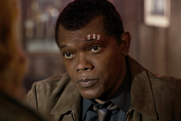 Samuel L Jackson as the younger Nick Fury in Captain Marvel (Disney)