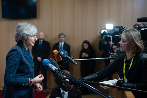 Theresa May, U.K. prime minister, speaks to Laura Kuenssberg, political editor of the BBC, and other members of the media following her meeting with Donald Tusk, president of the European Union (EU), in Brussels, Belgium, on Thursday, Feb. 7, 2019. May went to Brussels for Brexit talks, and the two sides agreed to send their teams back into the negotiating room for the first time since last year. Photographer: Jasper Juinen/Bloomberg via Getty Images
