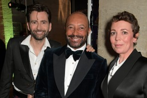 David Tennant, Sir Damon Marcus Buffini and Olivia Colman at the National Theatre's Up Next gala, Getty
