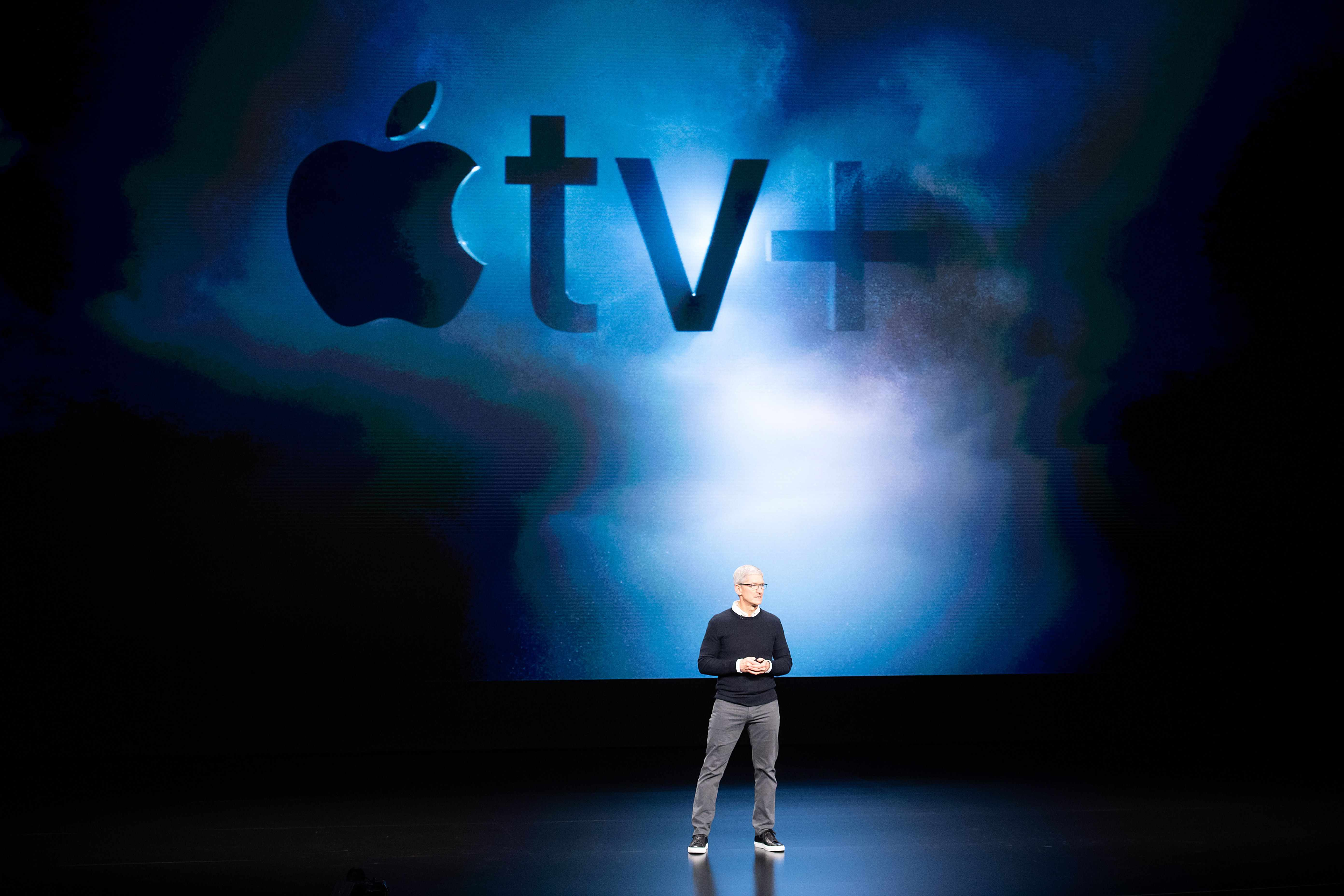 Apple CEO Tim Cook introduces Apple tv+ during a launch event at Apple headquarters on March 25, 2019, in Cupertino, California (Getty)